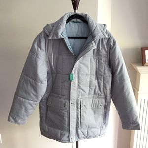 C&A Canda Light Blue Winter Zipper Coat With Hood